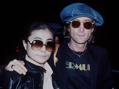 John Lennon with wife Yoko Ono
