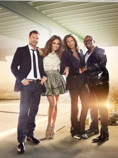 American Idol host Ryan Seacrest and judges Steven Tyler, Jennifer Lopez, and Randy Jackson