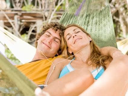 Calm couple relaxing