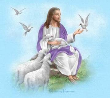 Jesus doves and lambs