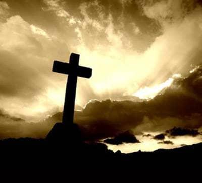 Sepia sky with a cross