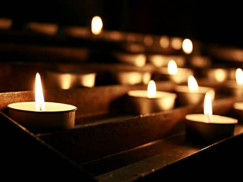 Votive candles in a church