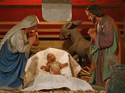 Baby jesus in manger, nativity creche
