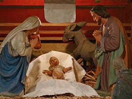 Baby jesus in manger, nativity creche