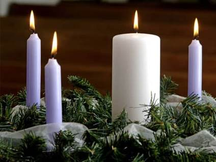 Purple and white advent candles