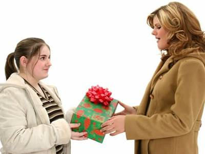 Friends giving presents