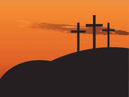 Three crosses on golgotha