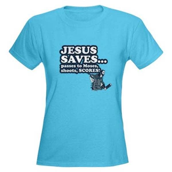 Christian T-shirts Jesus saves hockey Moses
