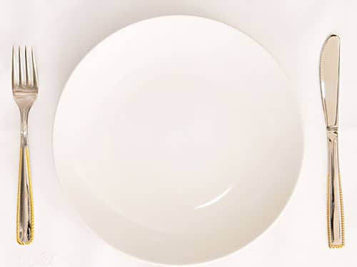 Empty plate with silverware