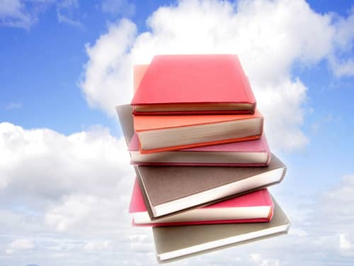 Stack of books in the sky