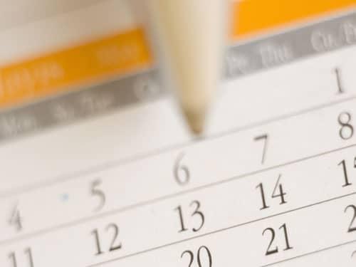 Marking calendar with pencil