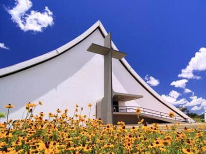 Church in field