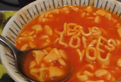 Jesus Loves You in soup