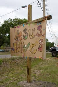 Jesus lives sign