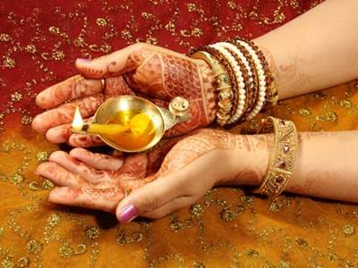 Henna Tattooed Hand of Indian Girl Holding Diwali Diya