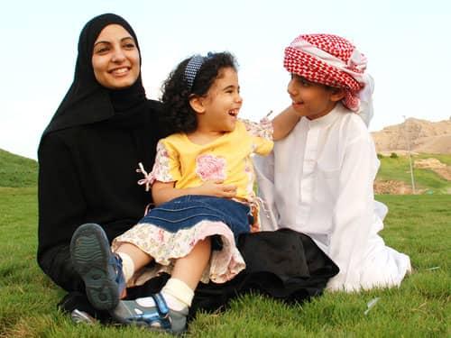 Muslim Children and Mother