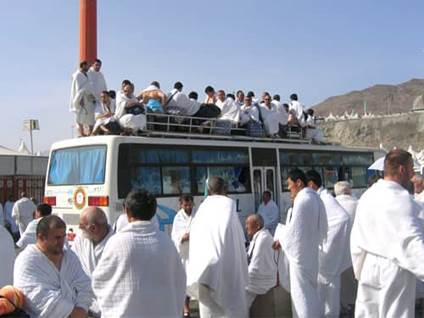 Hajj bus full of pilgrims