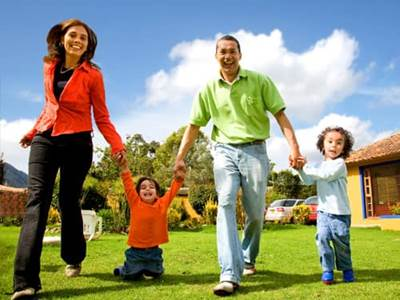 Happy muslim family in back yard