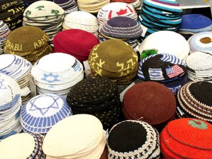 Assorted kipas yarmulkes