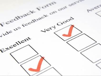 A feedback form checklist