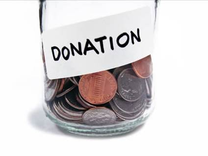 Donation jar with money inside