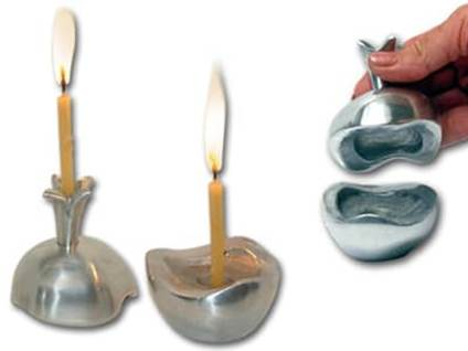 Jewish Pomegranate Candlesticks Shabbat