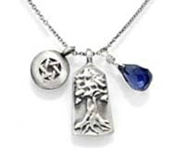 Triple Pendant Necklace the Star of David Tree of Life iolite blue stone of inner knowledge Favorite Hanukkah Gifts