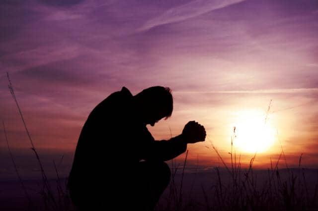 praying, sunset, pray, man