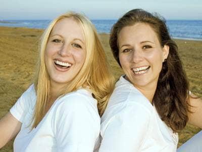 Girlfriends on a beach