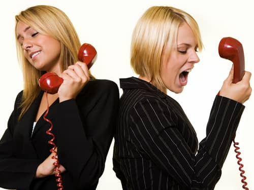 Women shouting on the phone