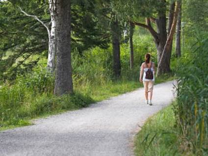 Woman walking on a path