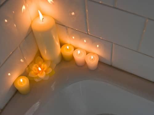 Bathtub with candles