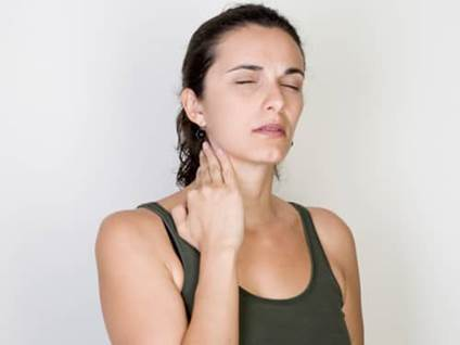Woman with neck ache