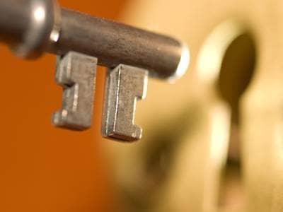 Key unlocking a door