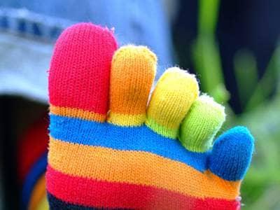 Rainbow toe socks