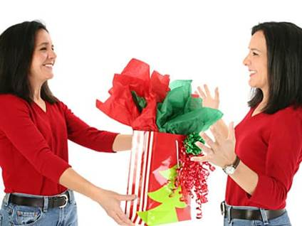 Woman giving present to her self