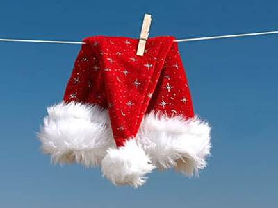 Santa hat hung out to dry