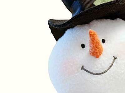 Snow man, smiling