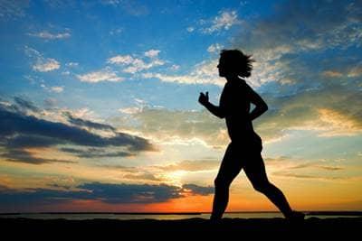 Running during sunset.