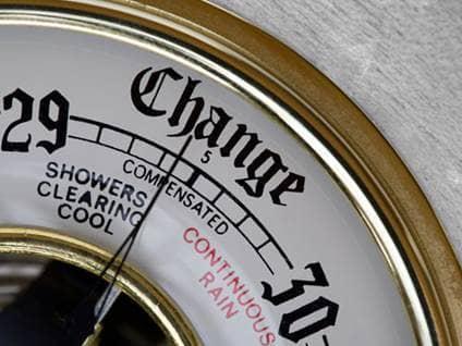 Weather meter showing change