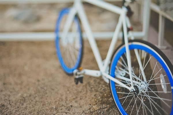 Blue wheeled bike