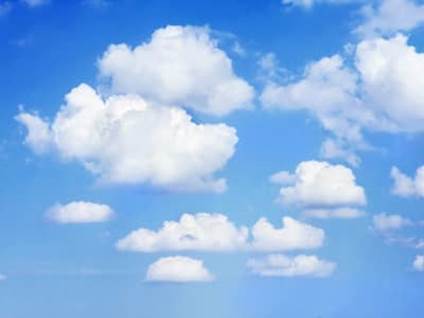 A sunny, blue sky with clouds