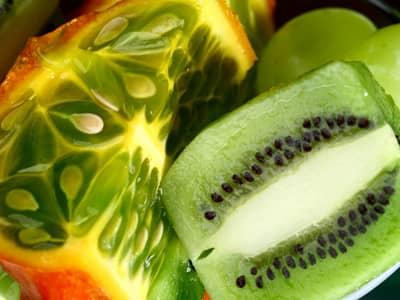 Bright green, tropical fruits