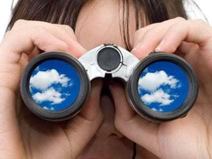 Clouds in binoculars