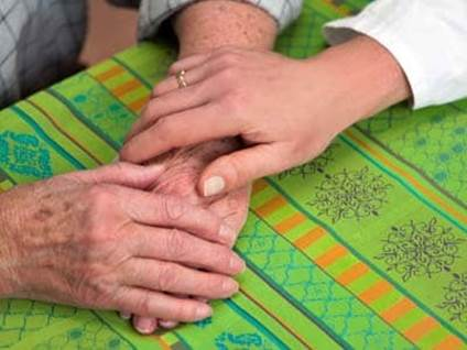 Comforting Hands, elderly, young