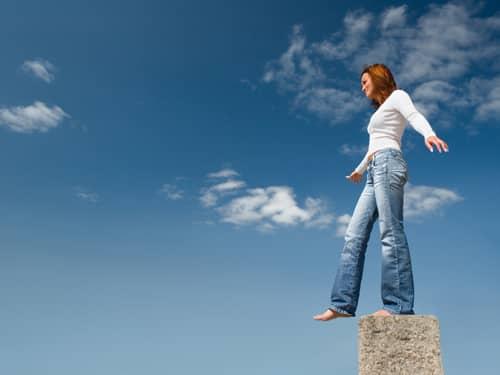 Balancing woman