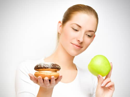 Choosing between donut and apple