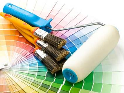 Paint brushes and chips