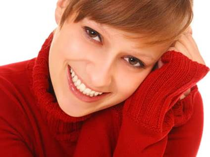 Woman in a red sweater