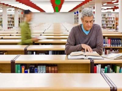 Man reading in the library